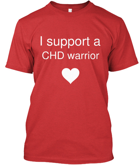 I Support A Chd Warrior Love Red T-Shirt Front