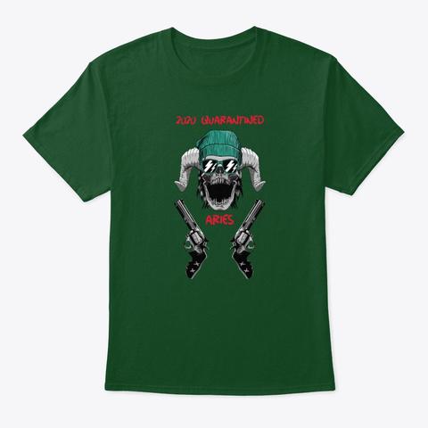 Dude Skull With Guns   Aries Gangster Deep Forest T-Shirt Front