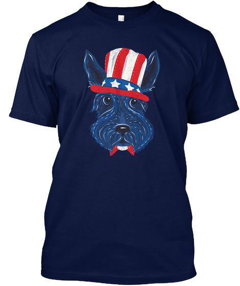 Patriotic Scottish Terrier Navy T-Shirt Front