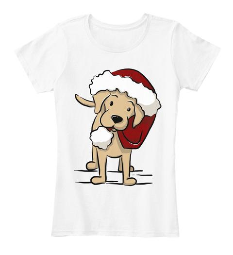 Yellow Lab Christmas T Shirt White T-Shirt Front