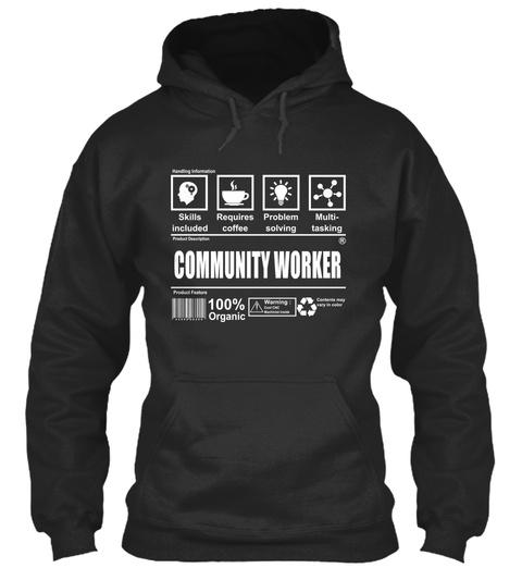 Community Worker Jet Black T-Shirt Front