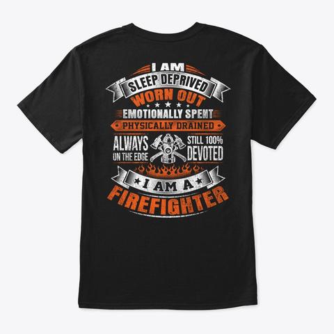 Firefighter   Serve Black T-Shirt Back