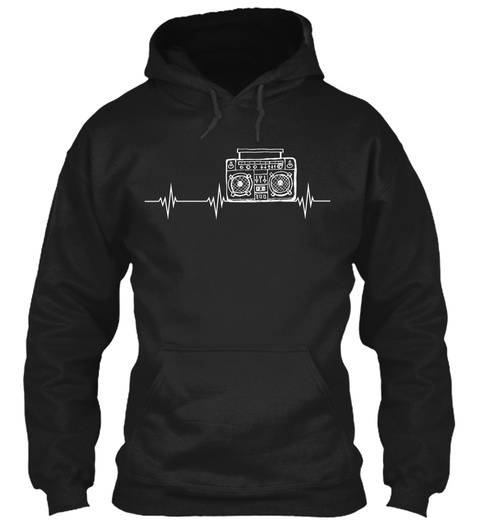 Radio Heartbeat Black T-Shirt Front