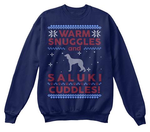 Saluki Ugly Christmas Sweater. Navy  T-Shirt Front