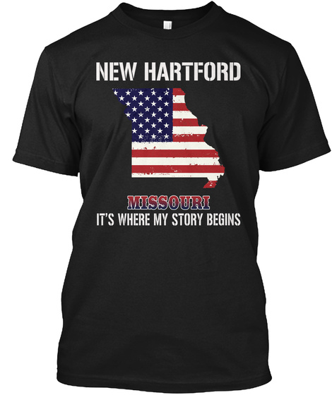 New Hartford Mo   Story Begins Black T-Shirt Front