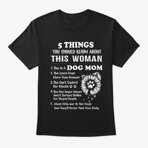 Dogs 5 Things Black T-Shirt Front