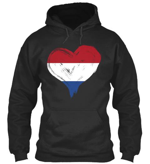 Netherland Heart Jet Black T-Shirt Front