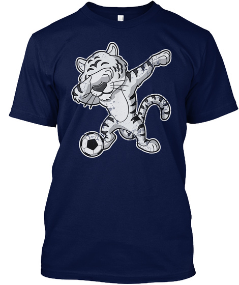 Soccer Futbol Dabbing White Tiger Navy T-Shirt Front