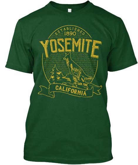 Established 1890 Yosemite California Deep Forest T-Shirt Front
