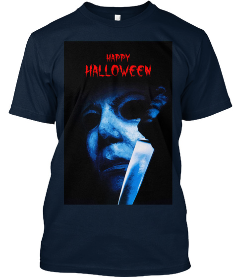 """Happy Halloween""   T Shirt ! New Navy T-Shirt Front"