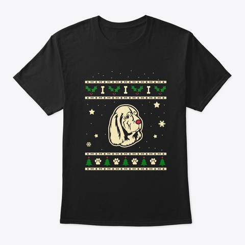 Christmas Sussex Spaniel Gift Black T-Shirt Front