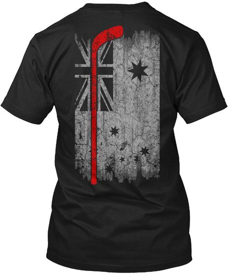 Hockey   Australia Flag Black T-Shirt Back