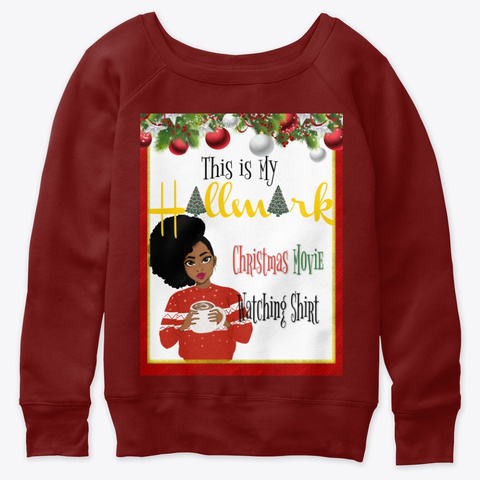 Christmas Movie Watching Shirt 2 Dark Red Triblend T-Shirt Front
