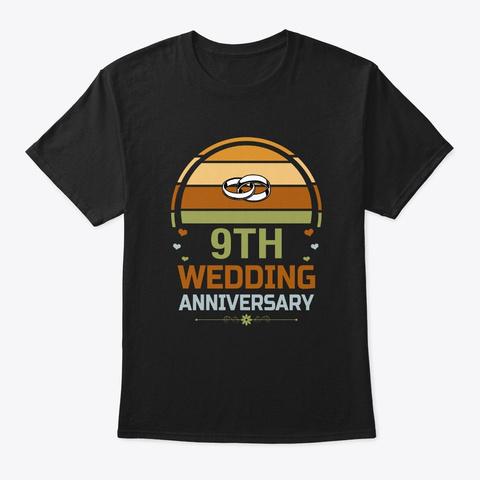 9th Wedding Anniversary Vintage Gift Black T-Shirt Front