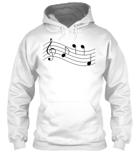 Hoodie Musical Notes Staff Treble Clef White T-Shirt Front