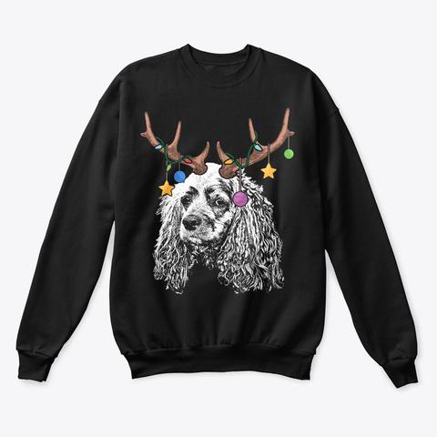 Cocker Spaniel Christmas Ornaments Black T-Shirt Front