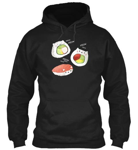 Cute Sushi Rolls Black T-Shirt Front