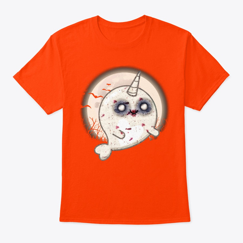 Halloween Narwhal Lover Gift Zombie Orange T-Shirt Front