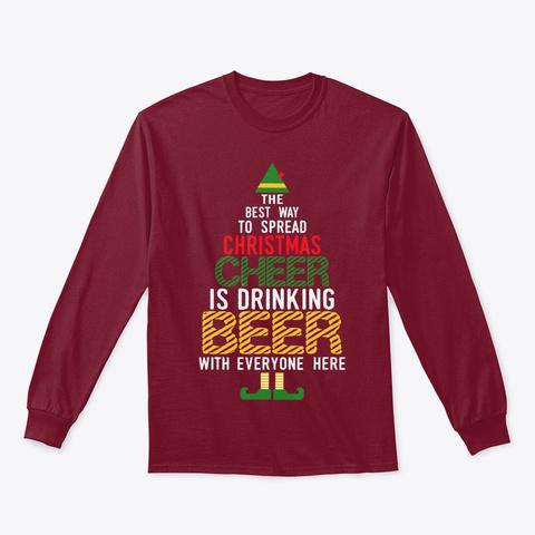 Naughty Santa Elf Beer Gift T Shirt Cardinal Red T-Shirt Front