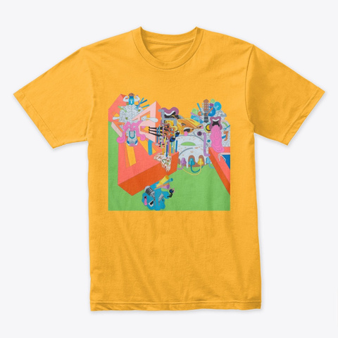 Trippy Surrealism Gold T-Shirt Front