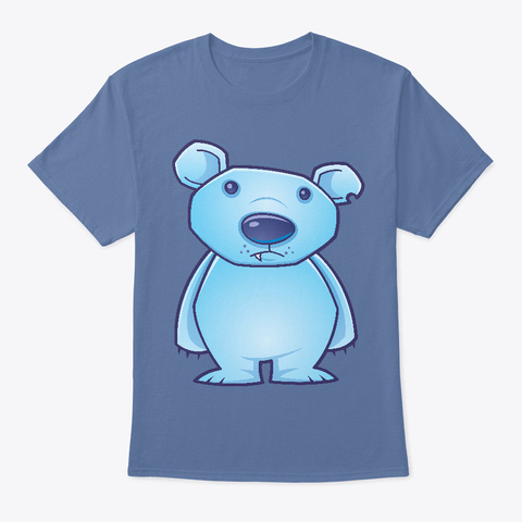 Polar Bear Cub Denim Blue T-Shirt Front