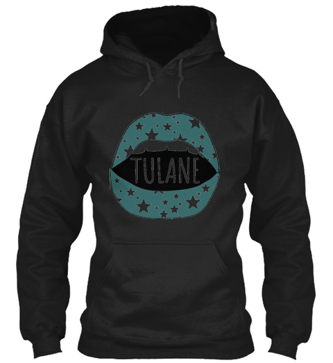 Tulane University Tu Roll Wave Lips Star Black T-Shirt Front
