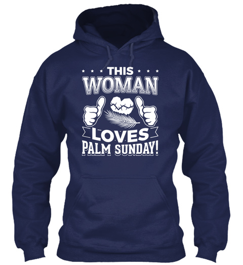 This Woman Loves Palm Sunday Christian T Navy T-Shirt Front