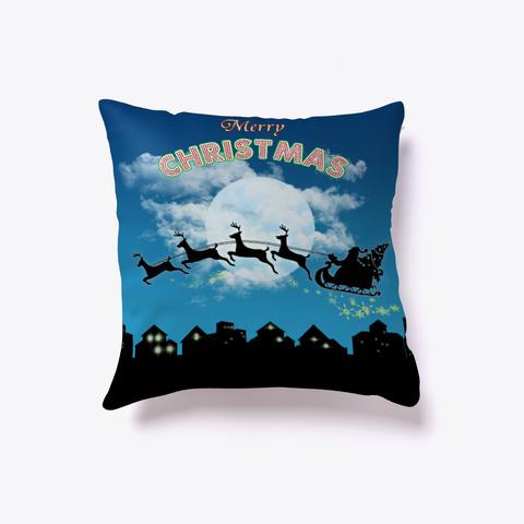 Merry Christmas Santa Reindeer Pillow  Denim Blue T-Shirt Front