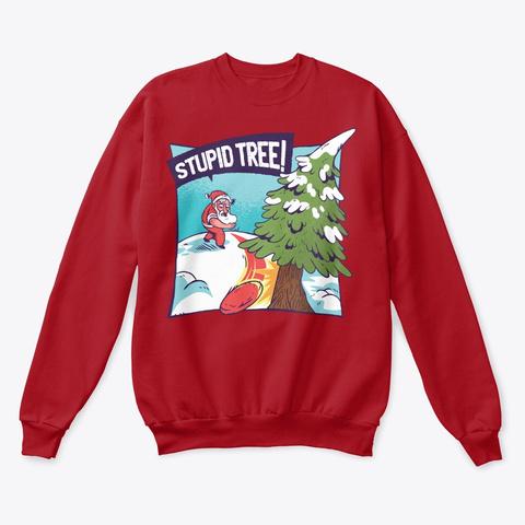 Stupid Tree Christmas Santa Deep Red  T-Shirt Front