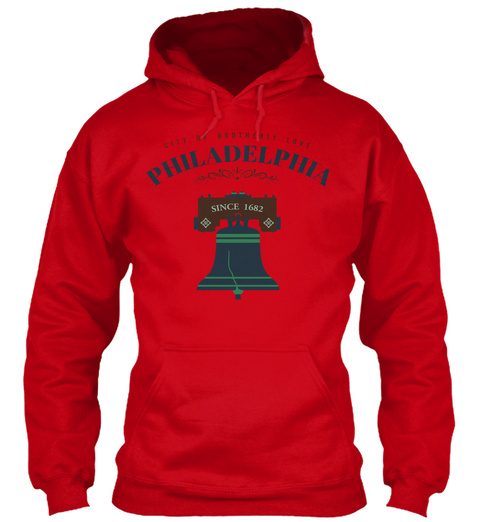 Philadelphia   City Of Brotherly Love Red T-Shirt Front