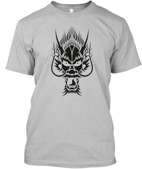 T Shirt Dragon Head Black Light Heather Grey  T-Shirt Front