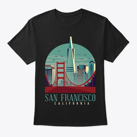 Golden Gate San Francisco California Usa Black T-Shirt Front