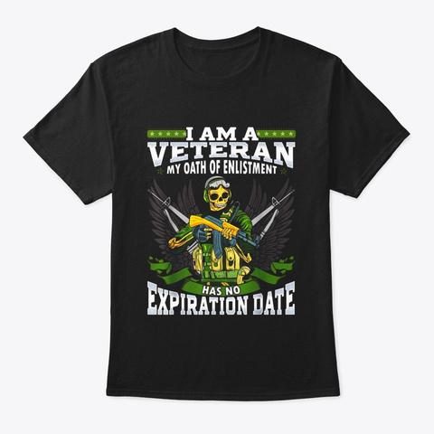 Mens Veteran Forever Skull T Shirt Proud Black T-Shirt Front