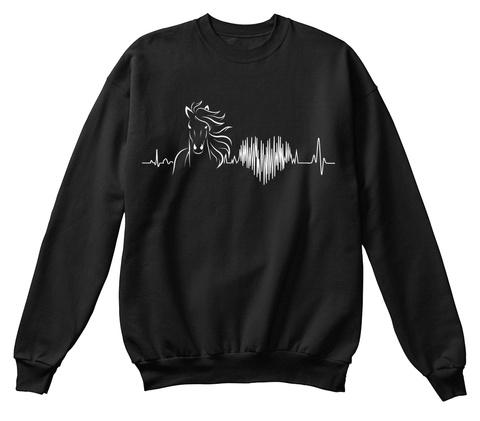 Horse Love  !!  Black T-Shirt Front