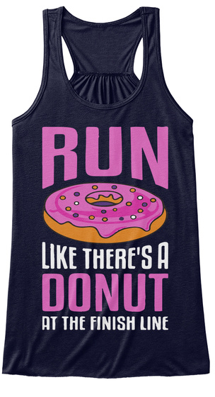 Run Like There's A Donut At The Fishing Line Midnight Women's Tank Top Front
