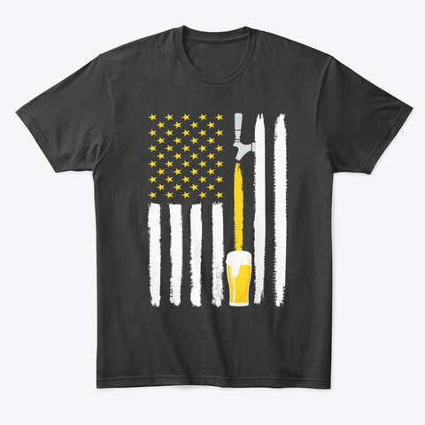 Craft Beer American Flag Usa 4th July Black T-Shirt Front