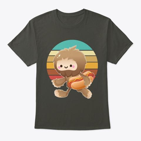 Bigfoot With Hot Dog Smoke Gray T-Shirt Front