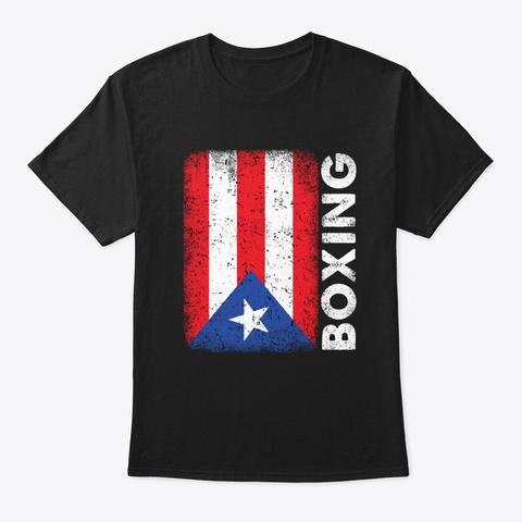 Puerto Rico Flag Boxing Gloves Vintage Black T-Shirt Front