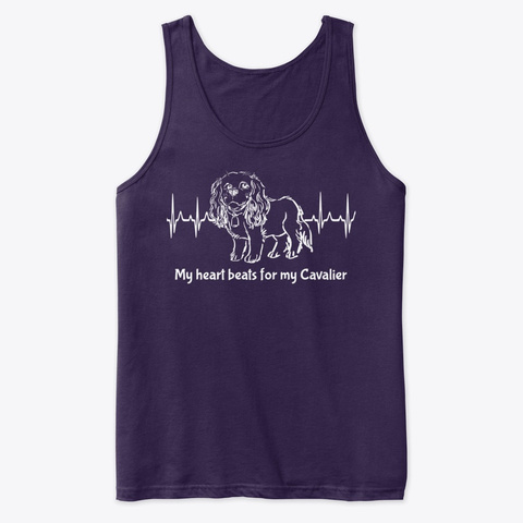 My Heart Beats For My Cavalier (White) Team Purple T-Shirt Front