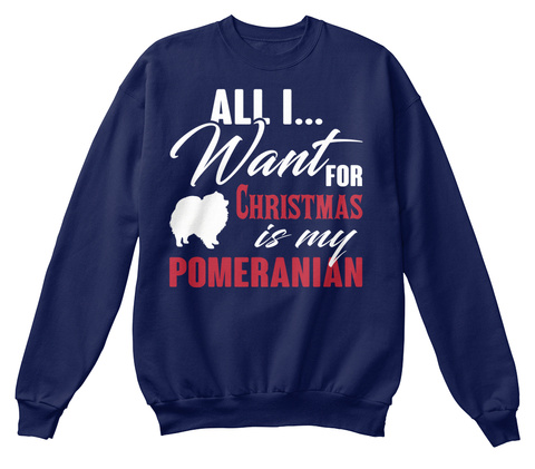 Pomeranian Ugly Christmas Sweater Navy  T-Shirt Front