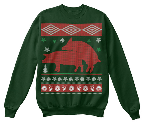 Pig Ugly Christmas Sweater Deep Forest  T-Shirt Front