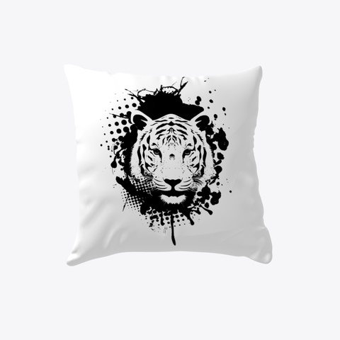 White Tiger Pillow White T-Shirt Front