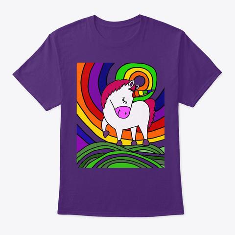 Cool White Unicorn And Rainbow Art Purple T-Shirt Front