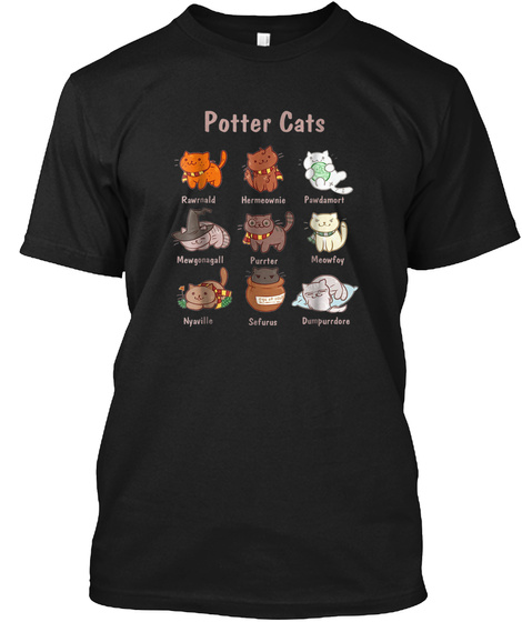 Potter Cats T Shirt, Funny Gifts For Cat Black T-Shirt Front