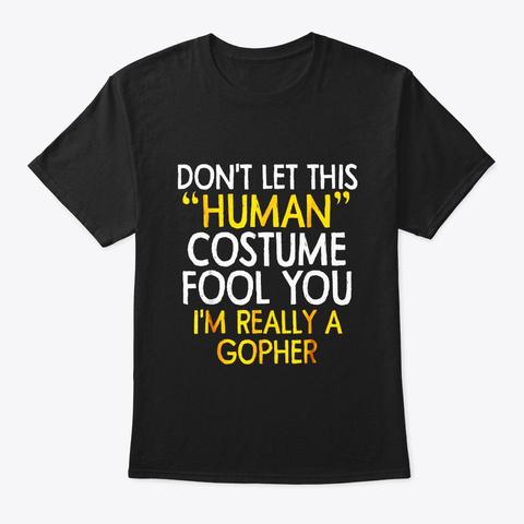 Gopher Human Costume Tshirt Halloween Black T-Shirt Front