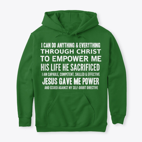 #52 Devotionals I Am Powerful Irish Green T-Shirt Front