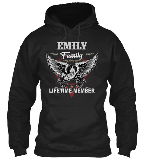 Emily Names Shirt Lifetime Family Member Black T-Shirt Front