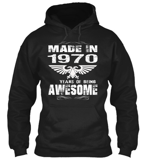 Birth Year 1970 Born In 1970 Black T-Shirt Front