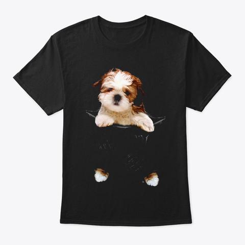 Shih Tzu Scratch Black T-Shirt Front