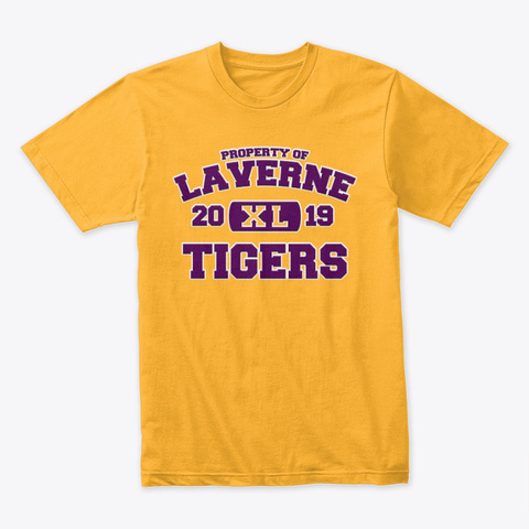 Property Of Laverne Tigers   Xl   Purple Gold T-Shirt Front